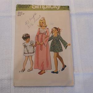 Vintage Simplicity Pattern 9897 Child's Dress